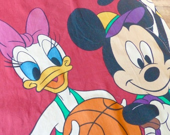 DISNEY Pair of Curtains with Mickey Mouse Minnie Mouse Donald Duck Daisy/Vintage 1960's/1970's