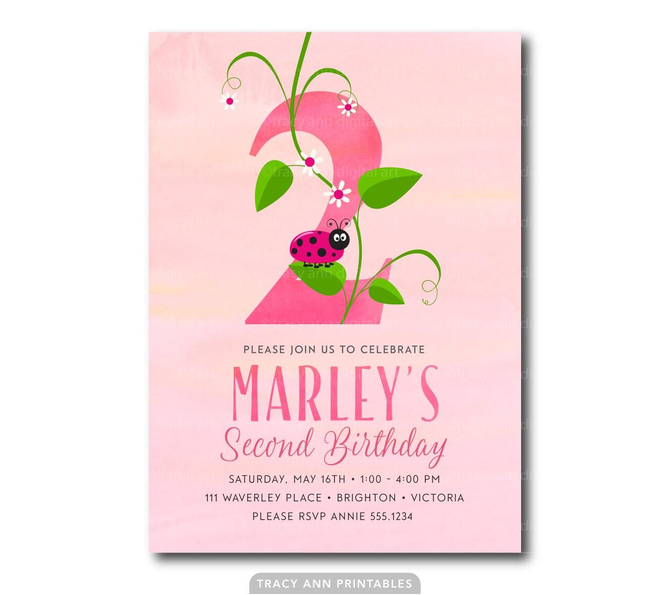 Pink 2nd Birthday Invitation Number 2 Ladybug Invitation