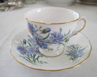 Vintage Royal Vale Bone China Cup Saucer Blue Flower Spray Design Pattern England 7513