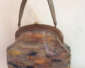 Vintage 1950s Handbag Purse Rosenfeld Label Fabric Under Clear Plastic Gold Color Glitter