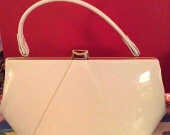 Vintage 1950s 1960s Handbag Purse Bright White Patent Vinyl