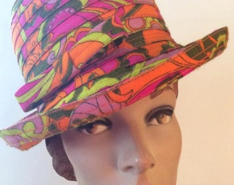 Vintage 1960s 1970s Hat Multi Color Funky High Crown Orange Purple Lime Green