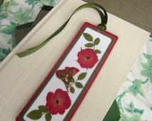 Pressed Flower Bookmark Red Rose and Rose Leaves Laminated