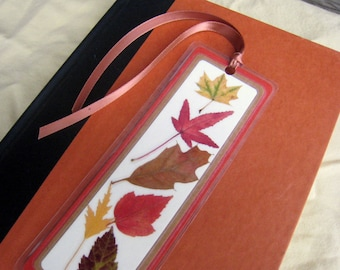 Yellow Red and Brown Pressed Fall Autumn Leaves Laminated Bookmark