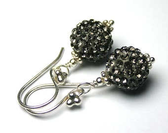 Pave Crystal Ball Earrings In Black Diamond - Bling Ball Earrings In Gey Crystal - All Sterling Silver and Swarovski Crystal