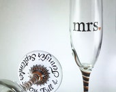 mr. and mrs. Toasting Flutes, wedding champagne glasses, personalized in calligraphy, customized colors and swarovski crystals