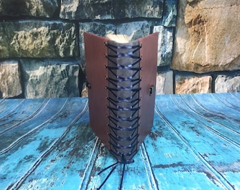Corset Leather Journal, gray (grey) and mauve leather, with closure and lined paper