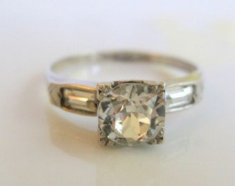 UNCAS Art Deco Engagement Ring Wedding Promise Bridal Jewelry Vintage 1930s-40s Paste Stone Sterling Silver 925