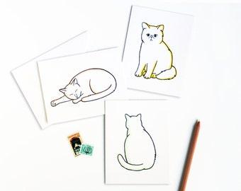 Cute Cat Greetings Letterpress Card Set