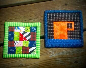 Mug Coaster, small mug rug, quilted coffee or tea coaster, drink mat, candle mat