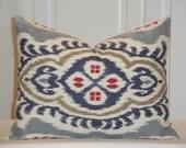 IKAT -Decorative Pillow Cover - 12 x 16 - Red Pillow - Blue Indigo Pillow - Tan pillow - Accent Pillow - Kilim Pillow