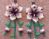 Glass Seed Beaded Dangle Mexican Huichol Earrings