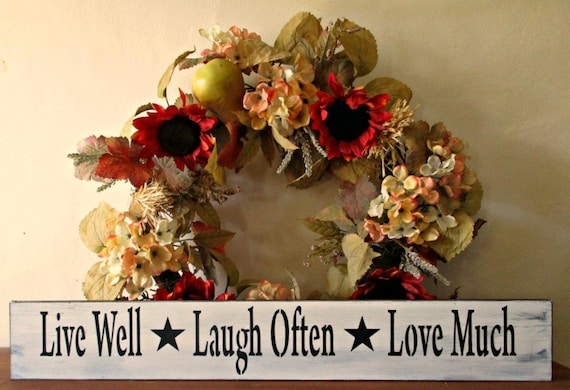 live well laugh often love much wooden signs inspirational. Black Bedroom Furniture Sets. Home Design Ideas