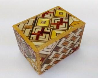 Japanese Puzzle box (Himitsu bako) Mame 1.7inch(42mm) 18steps Yosegi