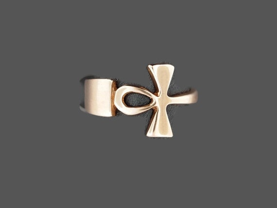 Ankh Ring Ring in Antique Bronze