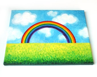 Catch a Rainbow, 14x11 inch original acrylic painting on gallery wrapped canvas, whimsical art