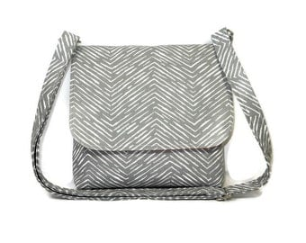 Gray Herringbone Purse, Small Crossbody Bag, Fabric Cross Body Purse, Gray Pocketbook, Cotton Handbag, Adjustable Strap Shoulder Bag