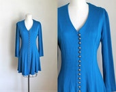 vintage 1990s blue knit dress - COBALT blue corset back babydoll dress / S-M