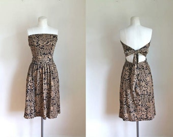 vintage jersey wrap dress - JAVA WRAP novelty print strapless dress / skirt // XS