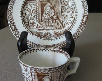 Antique Little Mae Dish and Cup / Allerton, England