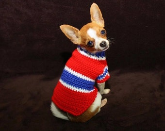 Montreal HABS colors Sweater for small breed dog ( approx 2 to 5 lbs)