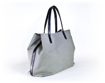 padbag TOTE for modern ladies - - LIGHTGRAY canvas and BLACKMARINE leather
