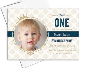 boys 1st birthday Invitations boys   prince theme birthday   navy and gold invitations   1st birthday invites - WLP00302