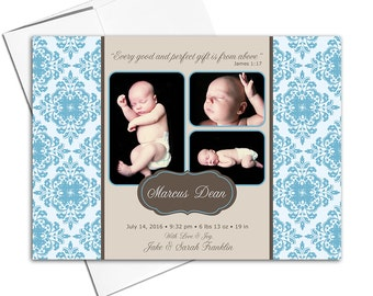 Photo Collage Baby Announcements | Multiple Photo Birth Announcements Blue Brown | Newborn Photo Cards | Printable or Printed - WLP00223