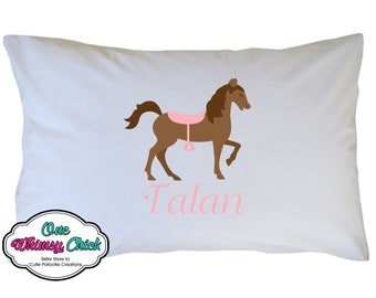 Pink Horse Pillow Case Personalized with Name Travel - Toddler - Standard Size Pillowcase - Birthday Gift or Favor