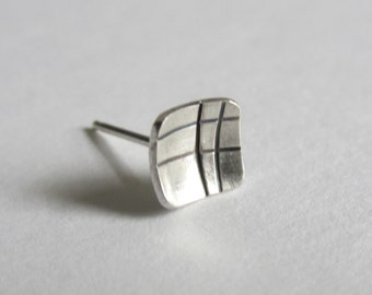 Crosshatch Earring single stud concave square eco friendly silver modern geometric 1/4 inch