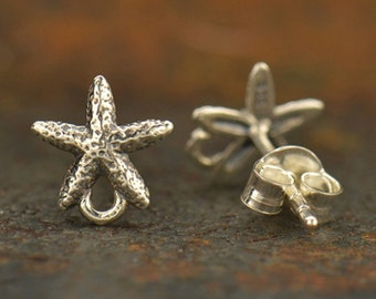 Sterling Silver Starfish Post Earrings with Loop