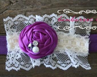 purple baby headband, Newborn photography prop, petite vintage rosette on lace, newborn headband, vintage headband, vintage headband