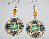 Butterfly Mandala Earrings Boho Chic Sacred Geometry Hippie Kaleidoscope Mod Bohemian New Age Gypsy Unique Gift For Her Gaeas Rhapsody