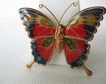 Butterfly Brooch/Inaect jewelry/Enamel/1980s