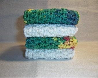 "Set of 4 Handmade Crochet Dish/Bath Cloths,Wash Cloths 7"" x 7"" 100% Cotton Ready To Ship"