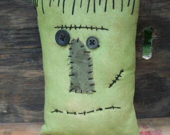 Small Primitive Halloween Frankenstein Pillow