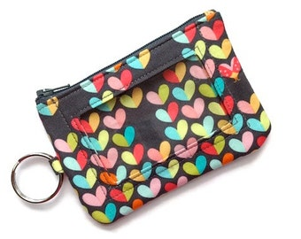 ID Keychain Wallet/ID Wallet/Student ID Holder/Card Case/Card Wallet/Coin Case/Change Purse/Zipper Pouch/Keychange Pouch/Hearts Gray