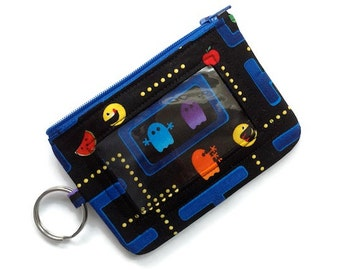 ID Case w Keyring & Zipper/Student ID Holder/Keyring Coin Purse/Badge Holder/Keychain ID Wallet  Pacman Black Blue Red