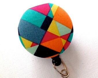 Retractable ID Badge Reel/ID Badge Holder/Badge Reel/Retractable Lanyard/Fabric Covered Button Mod Geometric Pink Aqua Black