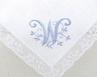 White Irish Linen Lace Handkerchief with Floral Design 1-Intial Monogram and Date