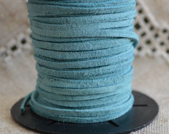 5 meters of 3mm x 1mm Genuine Sky Blue Real Suede Leather Lace