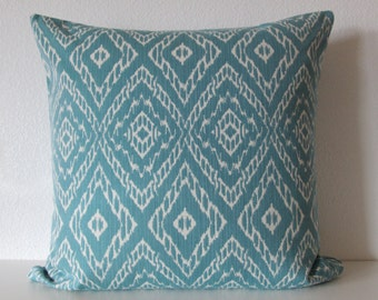 Robert Allen Strie Ikat Cove light teal ivory decorative pillow cover
