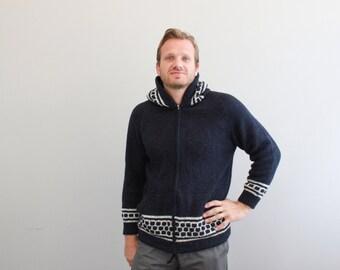 Vintage Blue Knit hoodie Sweater