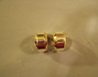 Vintage Givenchy Wide Hoop Clip Earrings Yellow Gold Tone & Silver Tone 8764
