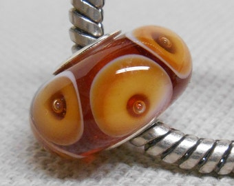 Transparent Topaz with Bubble Dots Handmade Lampwork Bead Silver Cored Bead