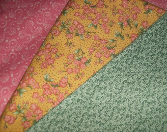 """3 matching cotton fabrics - Yellow floral with matching pink and green - 6 3/4 yds. X 45"""" wide"""