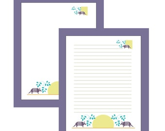 Digital Stationary / Printable Stationary / Stationary Template / Journal Paper /Armadillo Design / Custom Colors Available / Wrtiting Paper