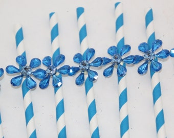 Blue Striped Paper Straw Embellished with Crystal Bling Flower 12
