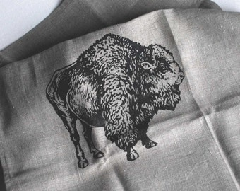 Rustic Kitchen Linen, Natural Linen Tea Towel with Original Bison, Buffalo Screen Print, , Made in Canada