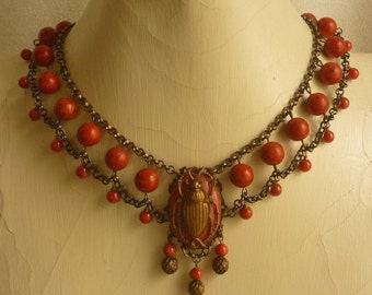 Egyptian Style Scarab Choker Coral and Antique Brass and Copper